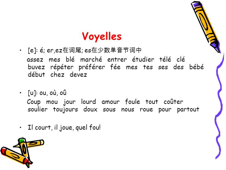 Voyelles [e]: é; er,ez在词尾; es在少数单音节词中